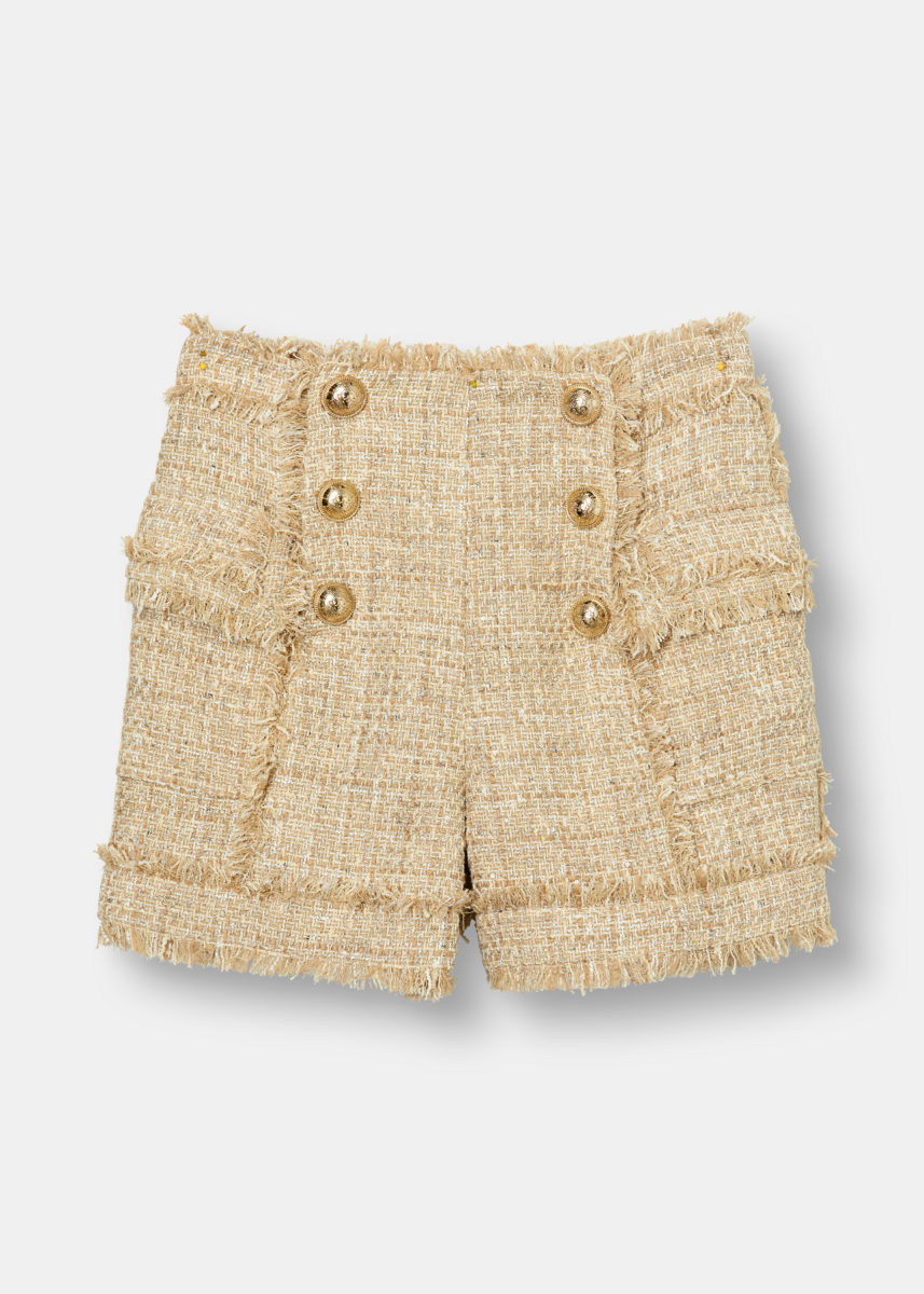 High Waisted Bouclé Tweed Shorts