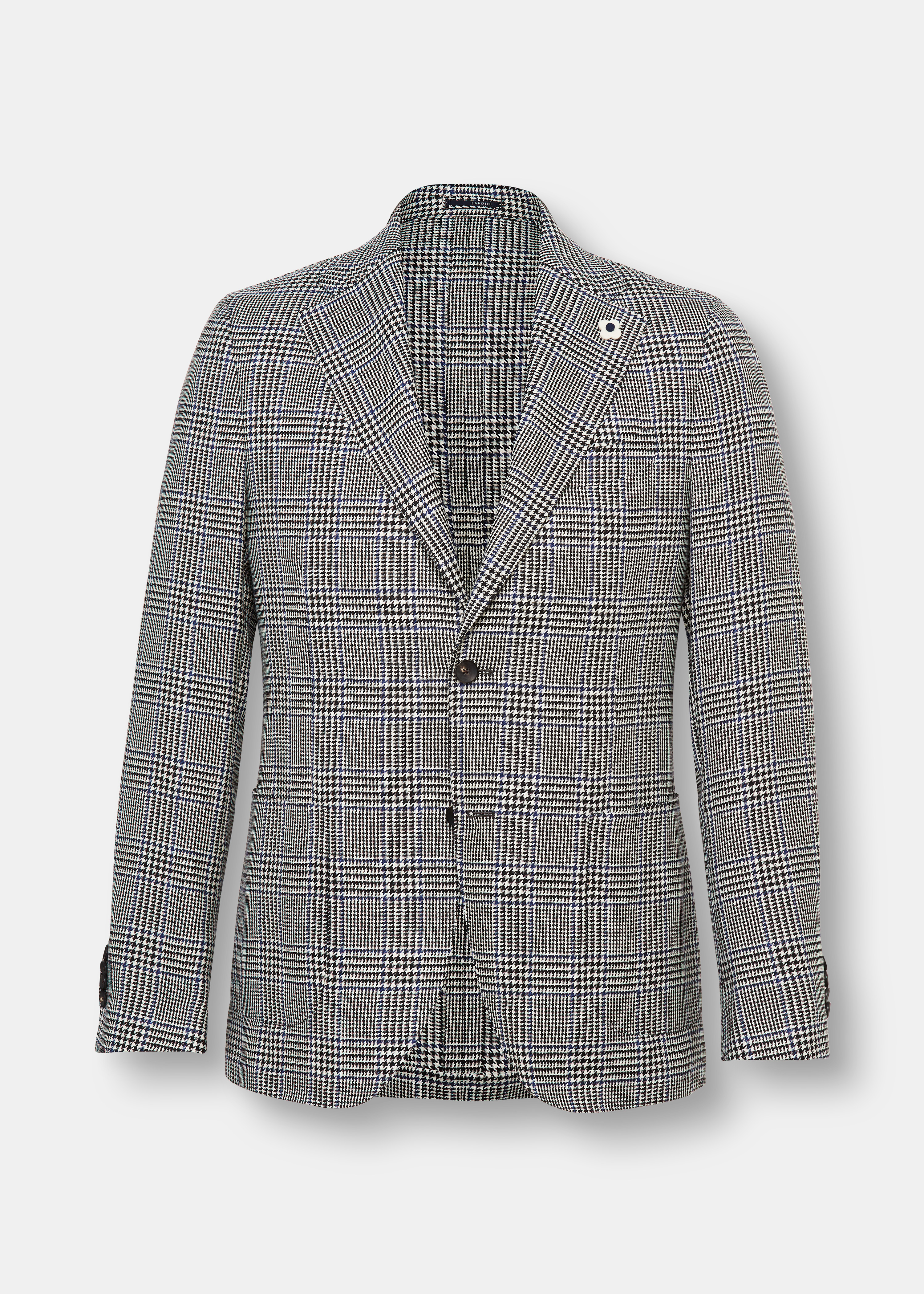 Check Wool Blend Single Breasted Jacket