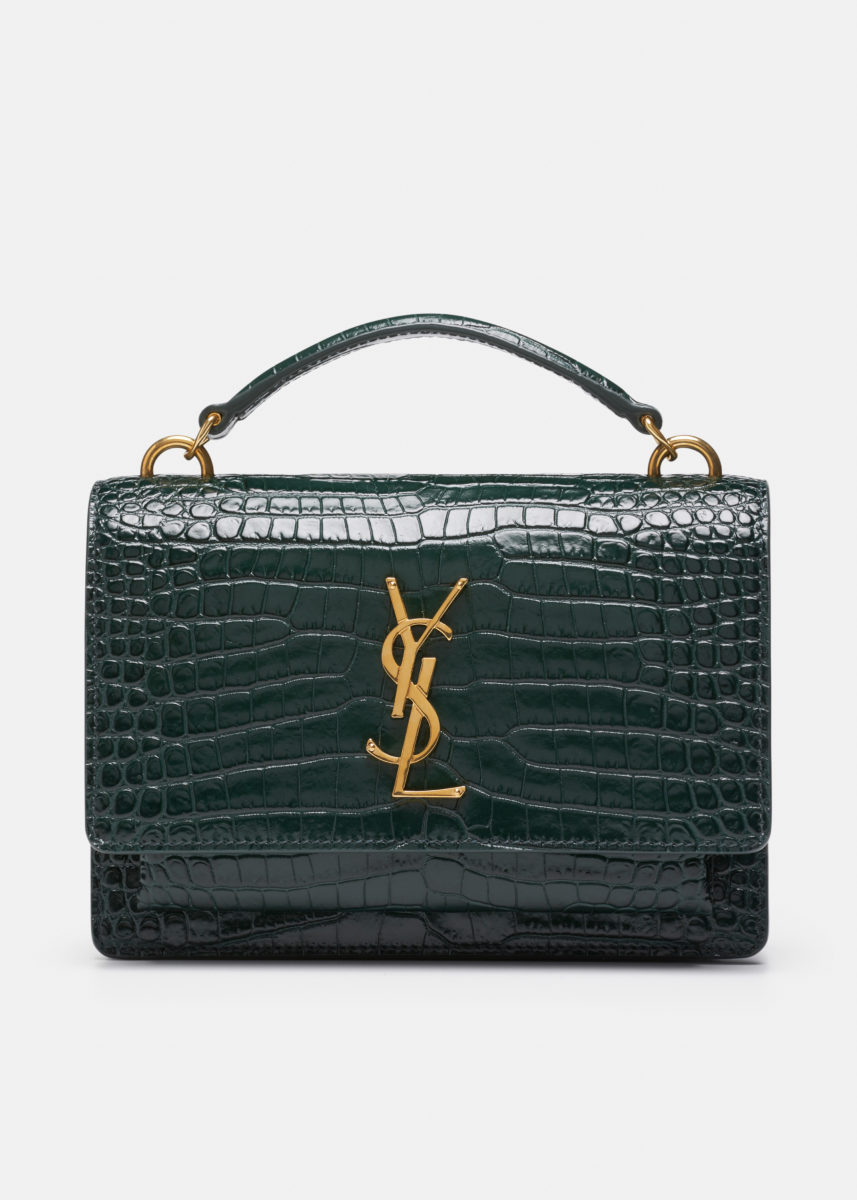 Patent Crocodile Embossed Sunset Chain Wallet Bag