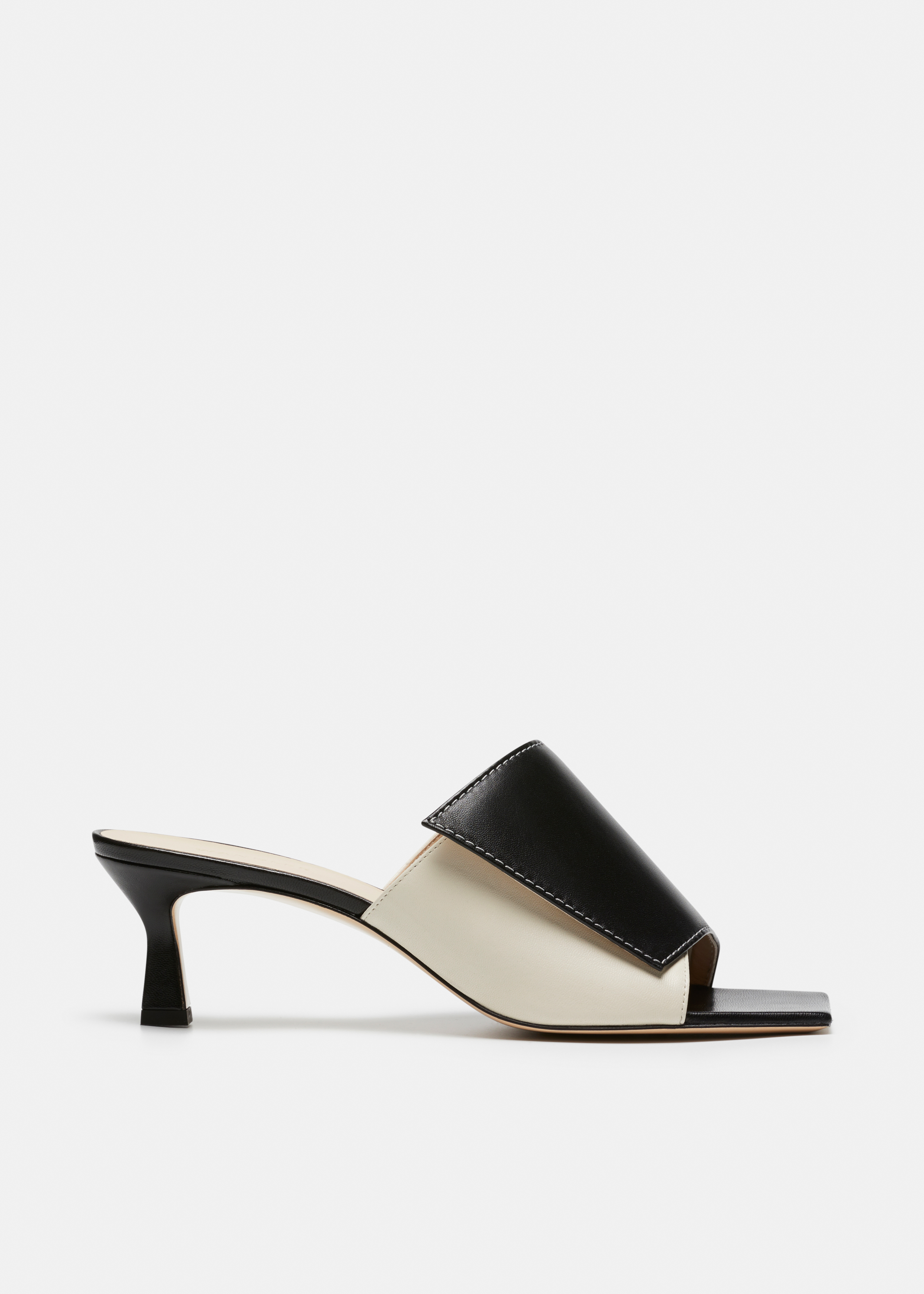 Isa Contrasting Leather Slipper Mule