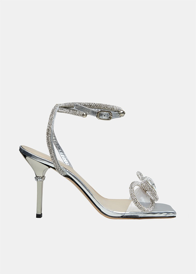 Double Crystal Bow Square Toe Sandals