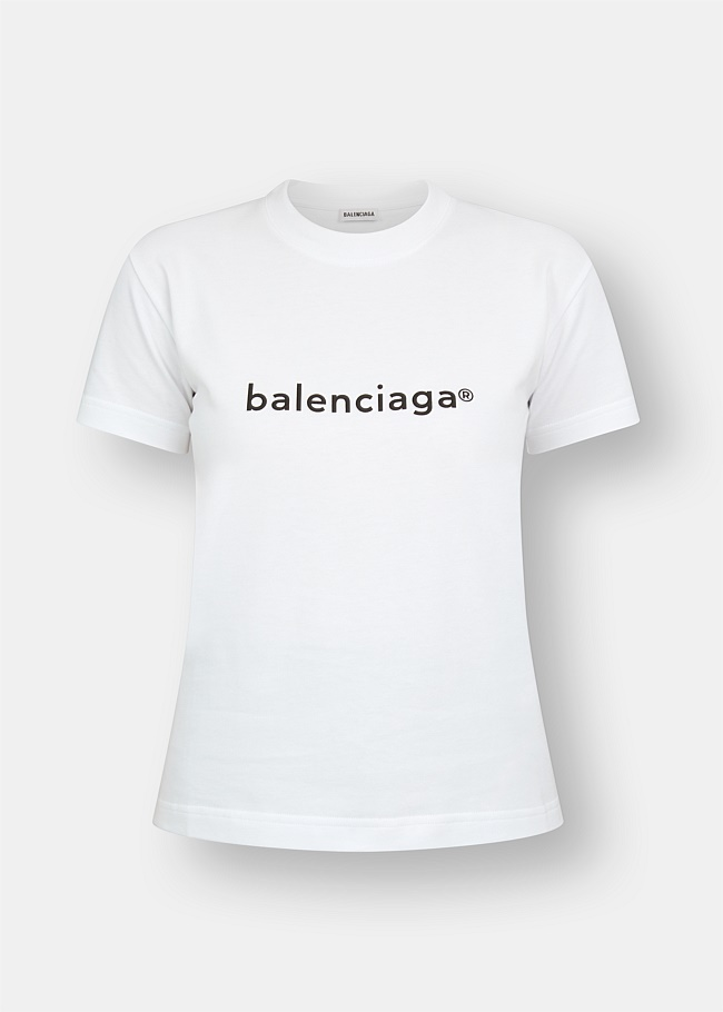 Balenciaga White Small Fit Tee