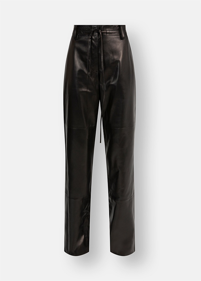 Wide Nappa Leather Pants