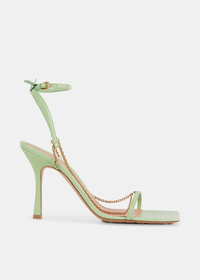Green Stretch Ankle Strap Chain Sandals