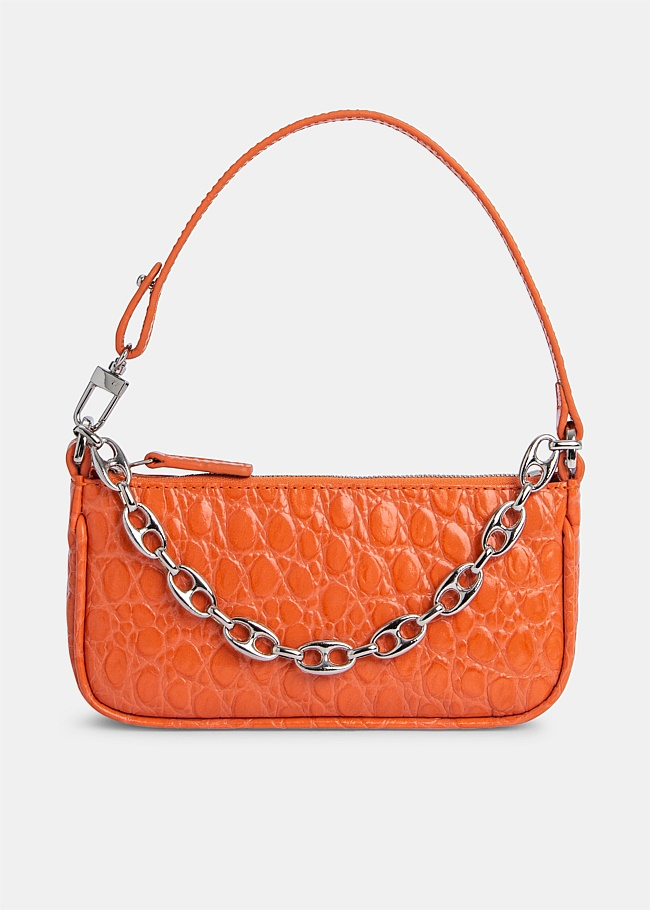 Mini Rachel Orange Croco Embossed Bag