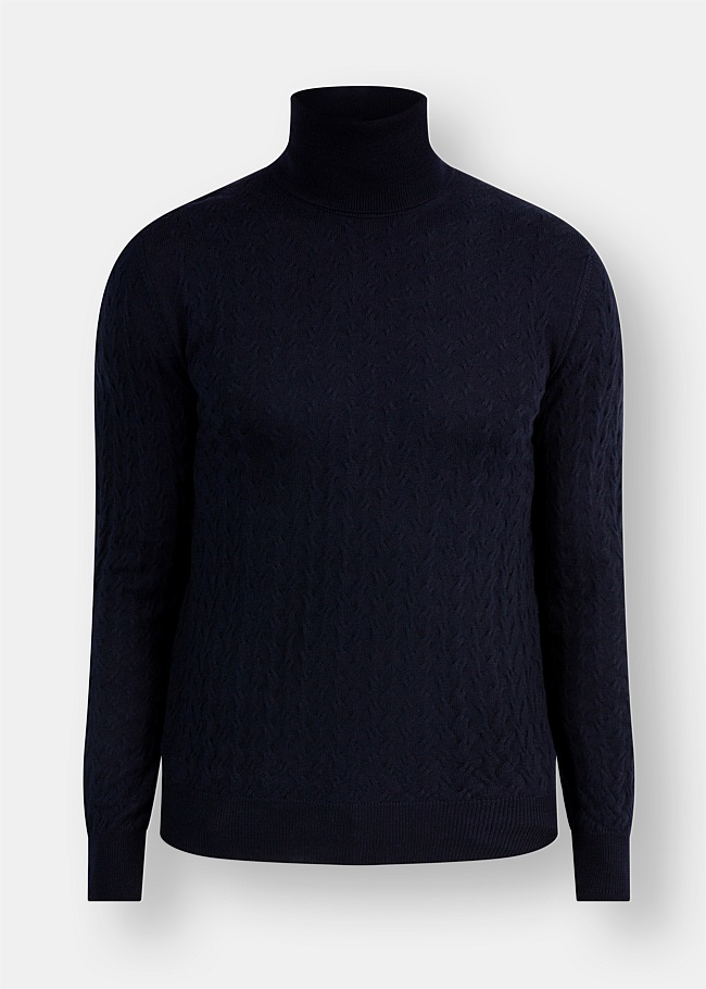 Merino Rollneck Cable Knit