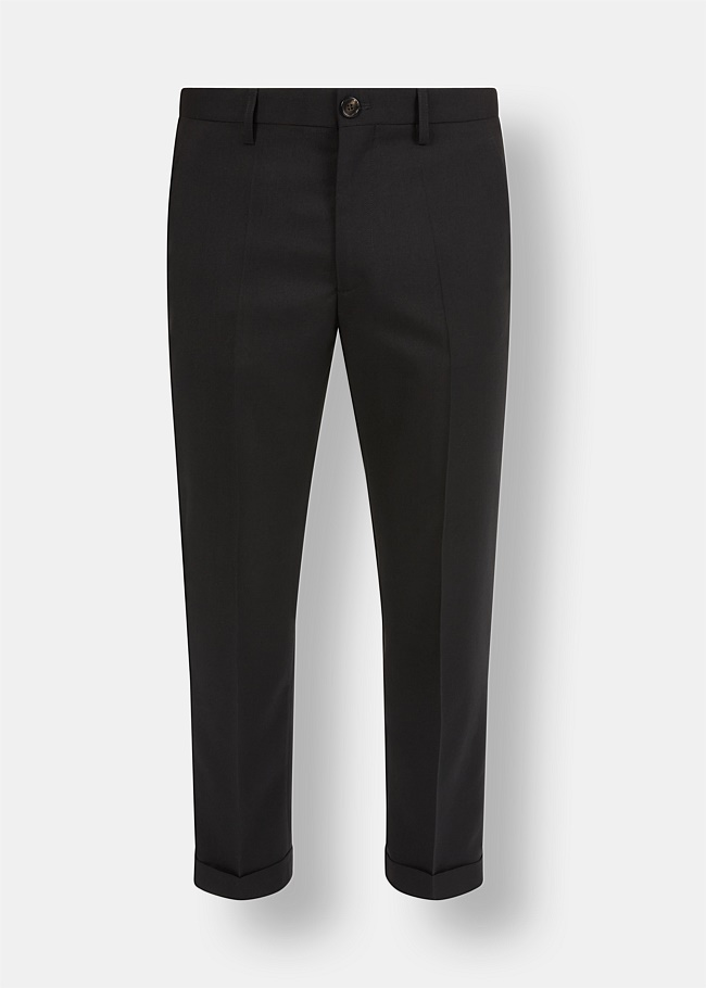 Pleated Cropped Wool Trousers
