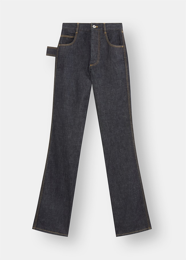 Contrast Stitch Raw Denim Jeans