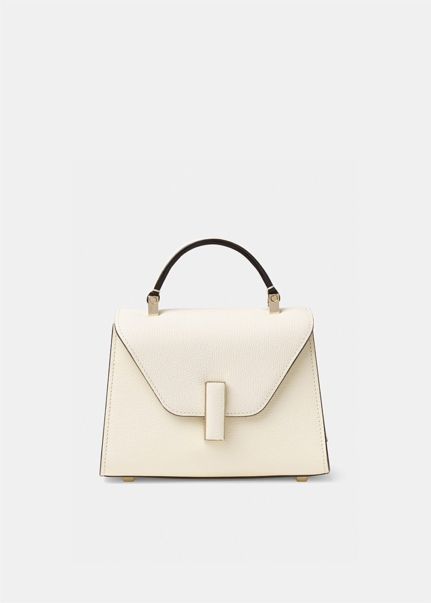 Iside Micro White Grained-Leather Bag