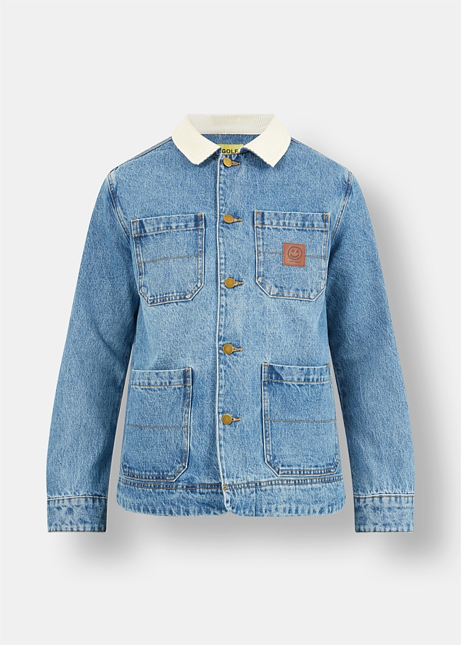 Denim Chore Jacket With Corduroy Collar