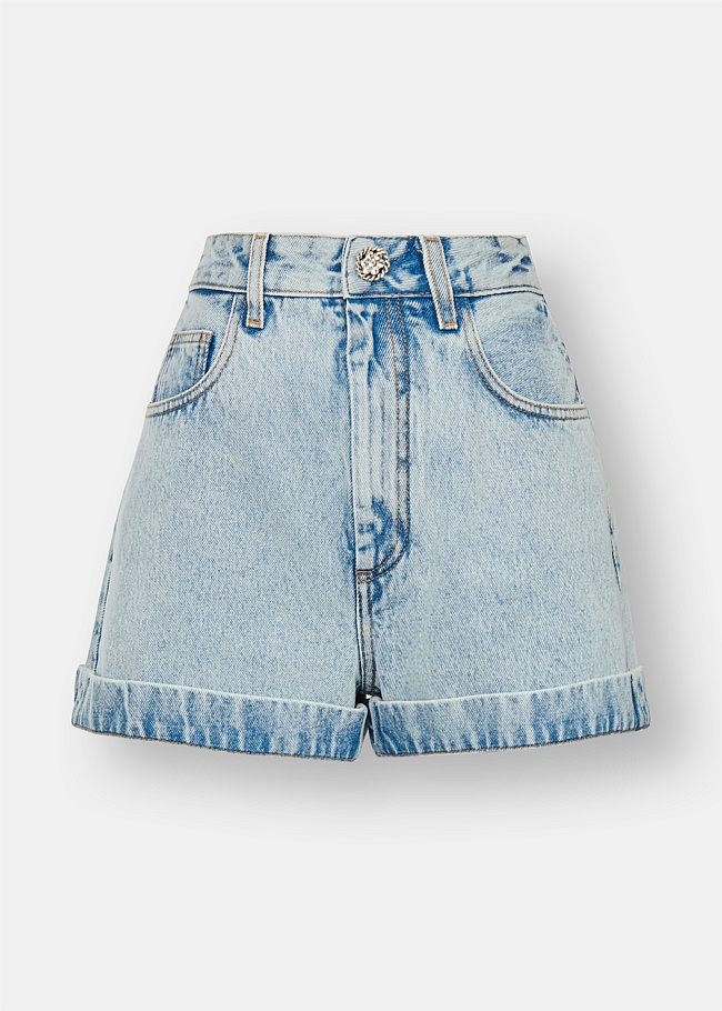 Crystal Button Denim Shorts