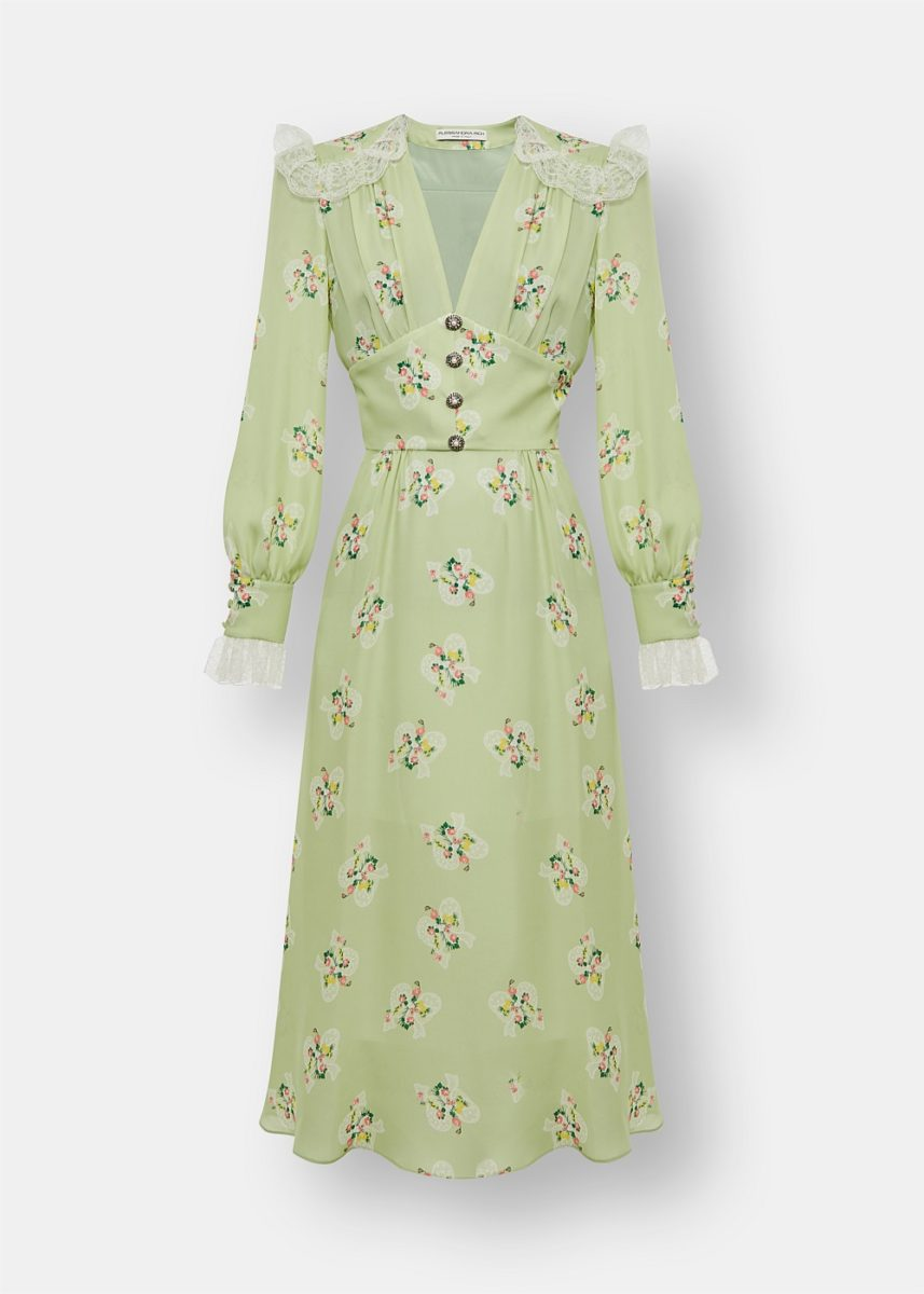 Floral Silk Midi Dress with Lace Trims