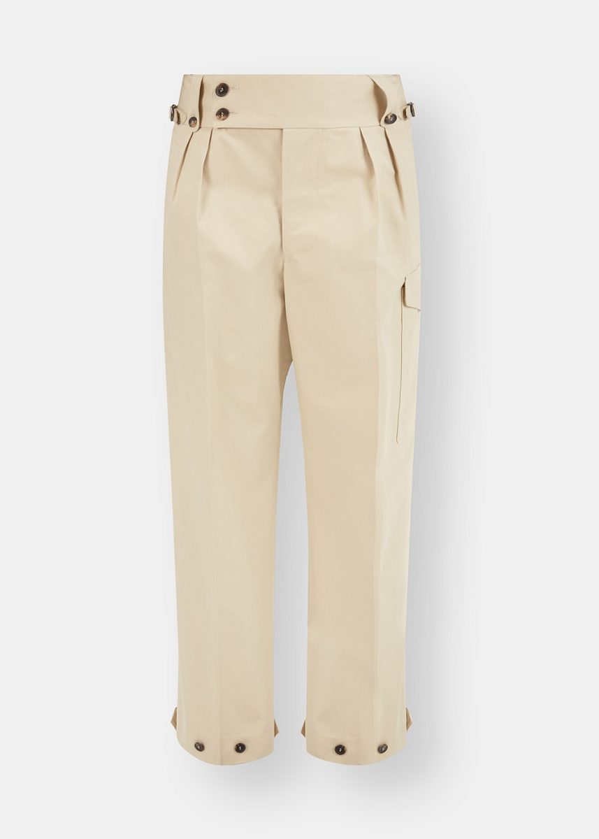 High-Waisted Wide-Leg Buttoned Trousers