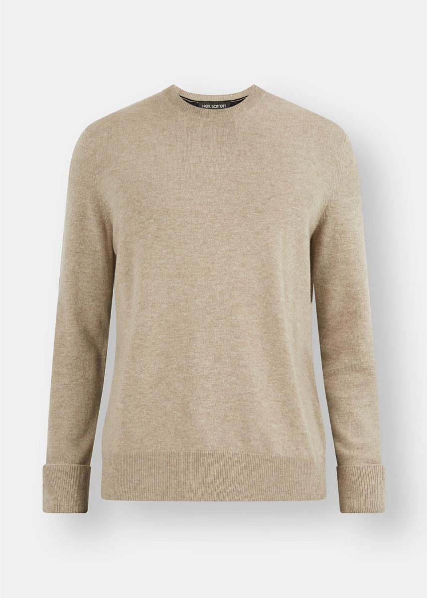 Wool and Cashmere Blend Two-Tone Knit