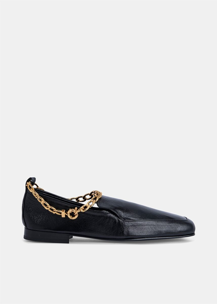 Black Nick Leather Loafer With Anklet Chain