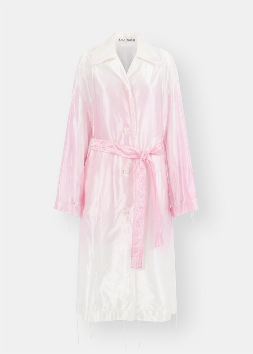 Pink Ombré Shiny Organza Trench Coat