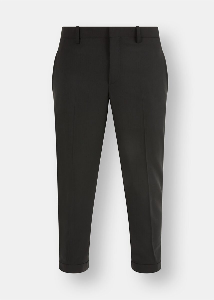 Wool Cropped Turn-Up Trousers