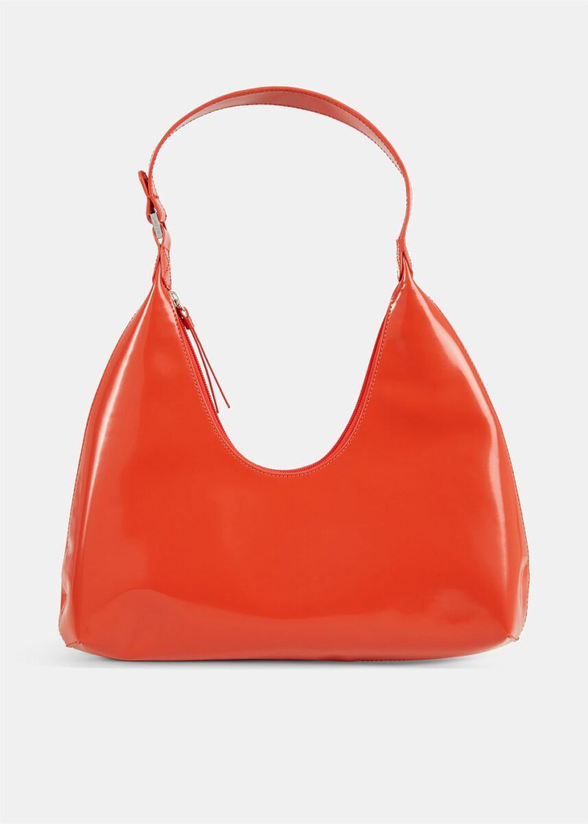 Amber Red Semi Patent Leather Bag