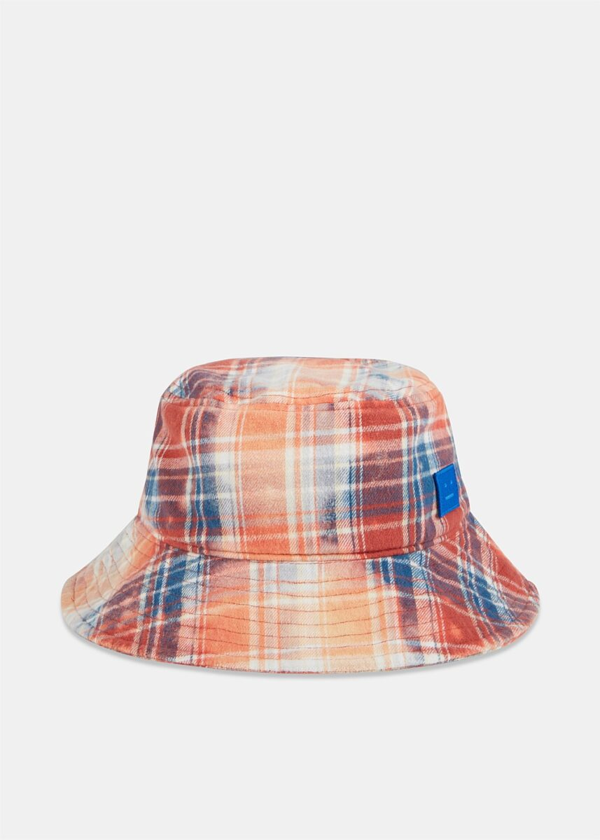 Pansy Face Check Bucket Hat